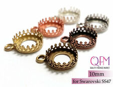 10pcs 10mm Round Bezel Cup Brass with 1 loop Finishes: Brass, Silver, Copper