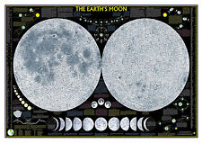 The Earth's Moon. Educational Lunar Moon Map. Space Print/Poster (3099)