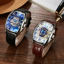 Mens Watch Automatic Mechanical Wrist Watches Stainless Steel Brown Leather Band