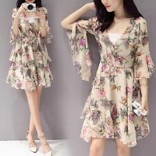 Korean Summer Dress Women Trumpet Sleeve V Neck A Line Printing Chiffon Dress