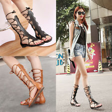 New Women Fashion Knee High Gladiator Sandal Out Strappy Flat Sandal Shoes