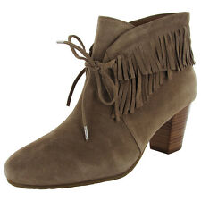 Gentle Souls Womens Bettie Suede Fringe Ankle Boot Shoes