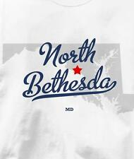 North Bethesda, Maryland MD MAP Souvenir T Shirt All Sizes & Colors