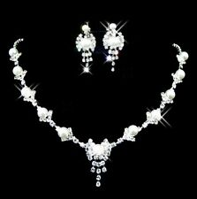 Bridal Wedding Rhinestone Crystal Pearl Necklace Earrings Jewelry Set Party