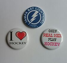 """Lot of 3 1.25"""" Pinback / Magnets / Flatback Buttons Tampa Bay / I Love Hockey"""
