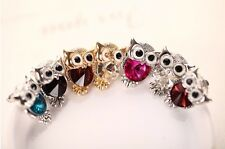 Women Owl Stud Earrings Cute Pink Blue Stones Fashion Jewelry White Gold Plated