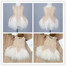 Baby Girls Lace Flower Sleeveless Princess Dress Kid Party Tulle Tutu Dresses