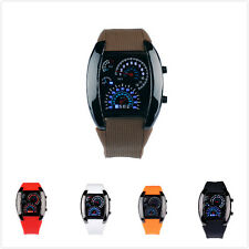 New Sport Mens RPM Turbo Blue Flash LED Sports Car Meter Dial Watch Wristwatch