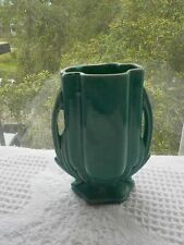 Vintage 1940s McCoy Pottery Miniature  Green Gloss Two Handled Vase
