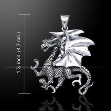 Large Winged Clawing Dragon Sterling Silver Pendant by Peter stone Fine Jewelry