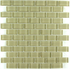 12X12 Beige Brick Pattern Mosaic Glass Backsplash Tile