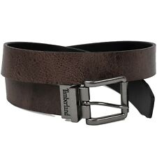 Timberland Men's 35MM Volcano Leather Reversible Belt Black-Brown
