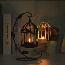 Metal Hollow Bird Cage Shape Candle Holder Candlestick Tealight Party Home Decor