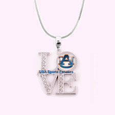 NCAA Auburn Tigers 925 Sterling Silver Team Love Necklace With Rhinestones