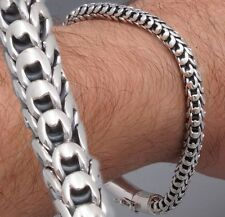 DRAGON SCALE MENS BRACELET CHAIN 925 STERLING SILVER HANDMADE 7.7 8 8.5 9 9.5 10