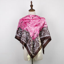 "Women's Printed Silk-Satin Red Rose Square Scarf Office Head Shawl Wrap 35""*35"""