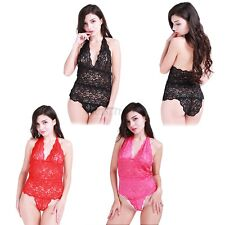 Sexy Women One Piece Lace Halter Babydoll Underwear Lingerie Dress Sleepwear