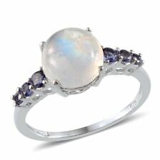 Sri Lankan Rainbow MOONSTONE , IOLITE RING in Plat / Sterling Silver 4.55 Cts.