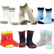 TeeHee Kids Boys Basic Sports  Crew Socks 6 Pair Pack (Stripes Tipped Rib)