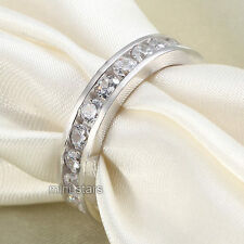 925 Sterling Silver Ring Eternity Wedding Band Ring Created Diamond FR8004