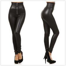 Women Faux Leather Legging Sexy High-waist Stretchy Skinny Pants Zipper Jegging