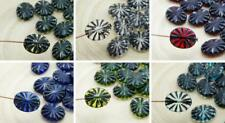 12pcs Crystal Black Wash Flat Flower Carved Oval Czech Glass Beads 12mm x 14mm