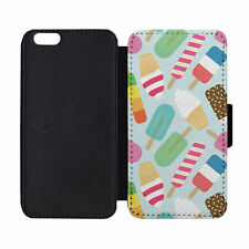 Popsicle Ice Cream Black Leather Wallet Flip Phone Case Cover Apple iPhone 6 6S