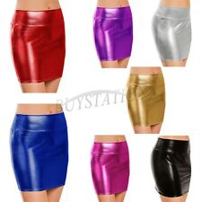 Women's Sexy Shiny Metallic Liquid Wet Look Faux Leather Mini Skirt clubwear