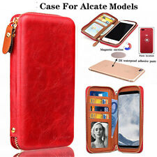 (Red ) PU Leather wallet card holder phone zip handbag For Alcate Mobile Phones