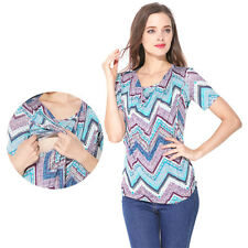 New Summer Maternity Clothes Short sleeve Tee Breastfeeding T-shirt Nursing Top