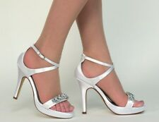 Dyeables Lilac White, Silver High Heeled Strappy Sandals, Bridal, Prom,Platform