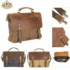 Vintage Mens Leather Canvas Handbag Shoulder Messenger Bag Tote Laptop Briefcase