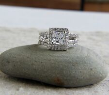 925 Sterling Silver set of 2 2 ct CZ Princess-Cut Halo Bridal Set Wedding Set