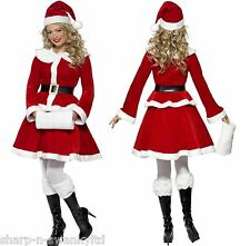 Ladies Deluxe Miss Santa Christmas Xmas + Hand Muff Fancy Dress Outfit Costume