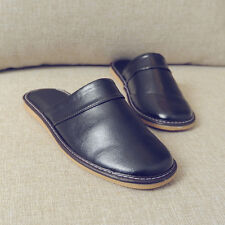 Comfy Mens Black Synthetic Leather Slippers House Indoor Shoes Water Resistant