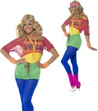 Ladies 1980s 80s Neon Aerobic Lets Get Physical Fancy Dress Costume Outfit 4-18