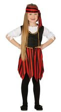 Girls Ship Mate Pirate Red & Black Villain Fancy Dress Costume Outfit 3-12 years