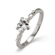 Sterling Silver Simple CZ Heart Ring