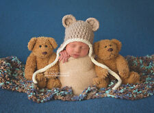 Hand Crochet Knitted Baby Hat Teddy Bear Chunky Photo Prop Boy Girl Newborn-12M