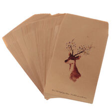 50PCs Painted Deer Craft Kraft Paper Shabby Chic Envelopes for Cards Invitations