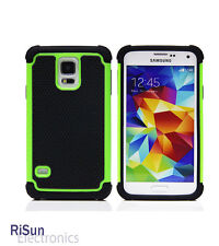 TPU Inner Tactile Anti-Slide Green Skin Case/screen protector for Samsung S5