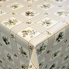 OILCLOTH TABLECLOTH PER METRE Motif Forest Flowers in Clear Beige