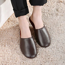 Mens Luxury Indoor/Outdoor Flats Shoes Cow Leather Closed Toes House Slippers