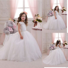 Lace Applique Ball Gown Princess Flower Girl Dress Kid Bridesmaid Wedding Party