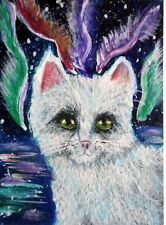 ACEO Original OOAK Cat and  Northern Lights