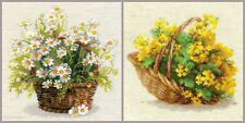 NEW UNOPENED Russian Counted Cross Stitch KIT Riolis FLOWERS basket Garden