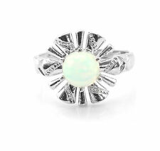 925 Sterling Silver Ring with Opal Round Cut Natural Gemstone Handmade eBay.