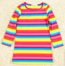 Girls Bright Rainbow Striped Long Sleeved T Shirt Tunic Dress by Jilly