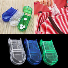 Portable Travel Medicine Pill Compartment Box Case Storage with Cutter Blade BA