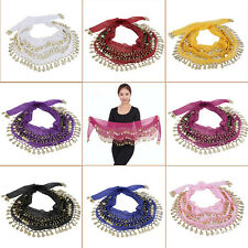 3 Rows 128 Gold Coins Belly Dance Costume Hip Scarf Skirt Belt Wrap Waist BA